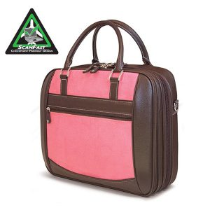 ScanFast Element TSA Approved / Compliant, Checkpoint Friendly Laptop Briefcase - Pink Suede