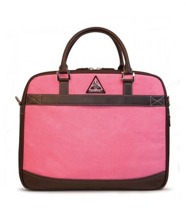 ScanFast Element TSA Approved / Compliant, Checkpoint Friendly Laptop Briefcase - Pink Suede - Trolley strap for use with rolling luggage