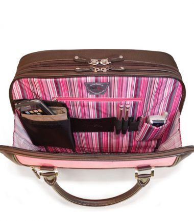 ScanFast Element TSA Approved / Compliant, Checkpoint Friendly Laptop Briefcase - Pink Suede - Interior pockets hold all your gear