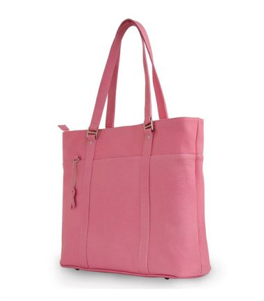 Pink Leather Laptop Tote-0