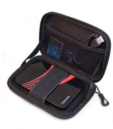 Portable Hard Drive Carrying Case (Small, Black / Red)