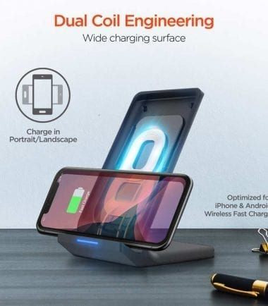 HyperGear 10W Wireless Fast Charging Stand - Black - Dual Coil Engineering