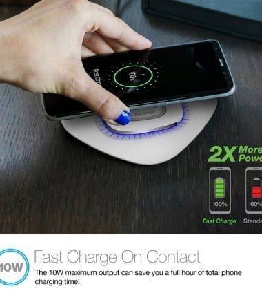 Power Pad Qi Wireless Fast Charger - Fast Charge on Contact 10W White