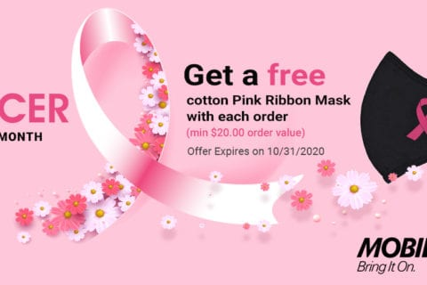 Mobile Edge Distributes Pink Ribbon Face Masks in Support of Breast Cancer Awareness