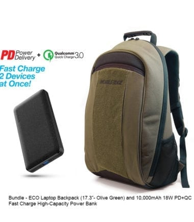 Bundle Offer - ECO Laptop Backpack Olive Green 17 inch and 10,000mAh Power Bank